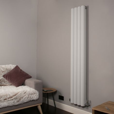 Venn Light Grey Vertical Tall Skinny Designer Radiator - 1750mm high x 320mm wide