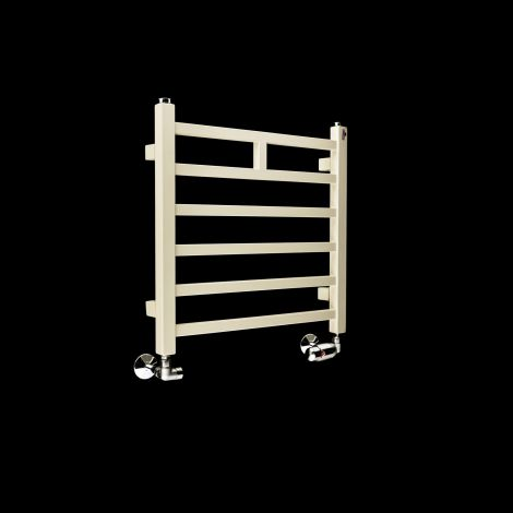 EX-DISPLAY Lineo Light Cream Space Saving Short Heated Towel Rail 500mm high x 500mm wide