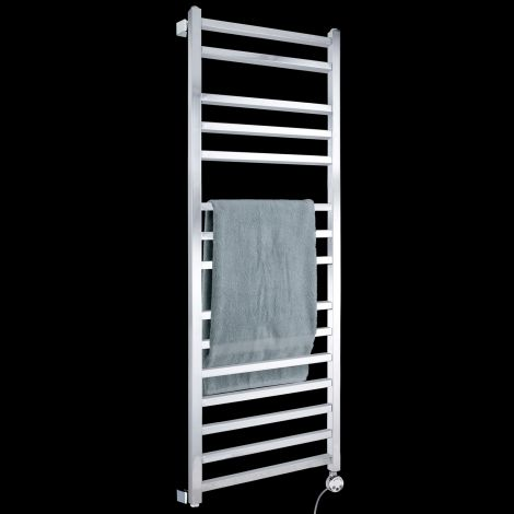 Lineo Chrome Thermostatic Electric Towel Rail 1400mm high x 500mm wide