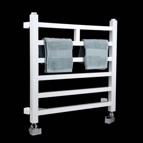 Lineo White Space Saving Short Heated Towel Rail 500mm high x 500mm wide