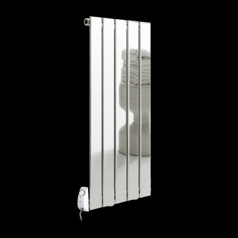 Livorno Chrome Thin Panel Designer Thermostatic Electric Radiator 900mm high x 386mm wide