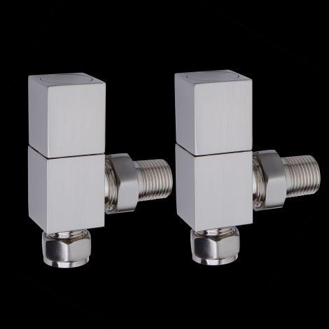 Brushed Chrome Square Designer Angled Manual Radiator Valves - Control & Lockshield Set