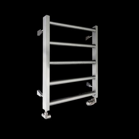 Milas Brushed Stainless Steel Low Level Heated Towel Rail 600mm high x 600mm wide