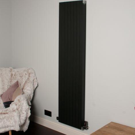 Motif Black Vertical Tall Slim Designer Radiator - 1750mm high x 400mm wide