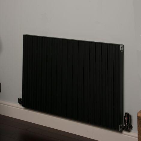 Motif Black Horizontal Designer Radiator - 600mm high x 900mm wide