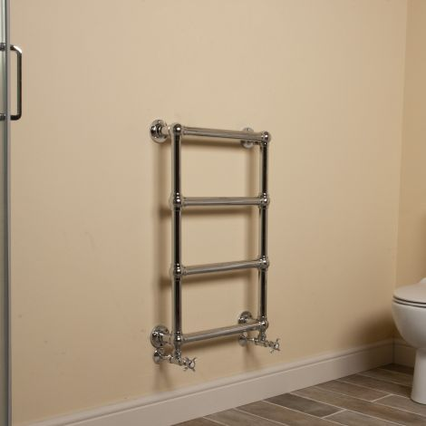 Muir Chrome Traditional Victorian Heated Towel Rail - 750mm high x 475mm wide