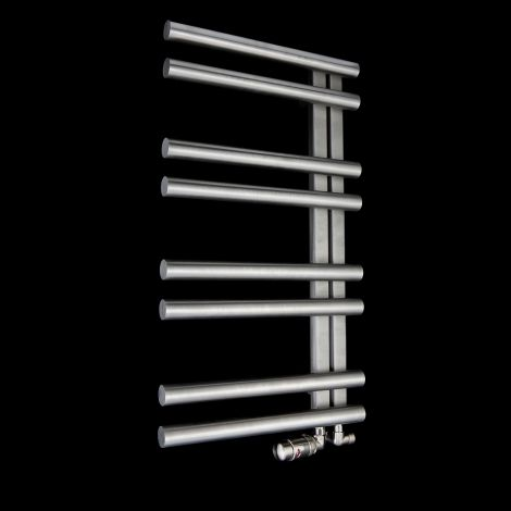 Nemrut Brushed Stainless Steel Floating Open Side Designer Heated Towel Rail 900mm high x 500mm wide