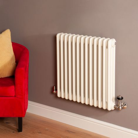Old Style Matt Cream 3 Column Radiator 600mm high x 609mm wide,Small Image,Thumbnail Image,Thumbnail Image,Small Image,Thumbnail Image,Small Image