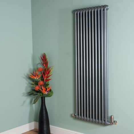 Old Style Mid Grey 2 Column Radiator 1500mm high x 519mm wide