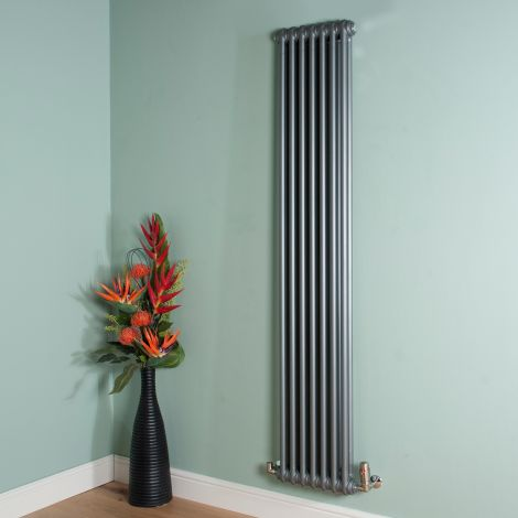 Old Style Tall Thin Mid Grey 2 Column Radiator 1800mm high x 339mm wide
