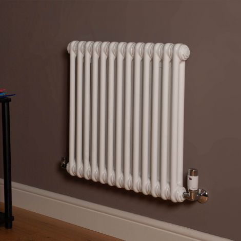 Old Style Gloss White 2 Column Radiator 600mm high x 609mm wide
