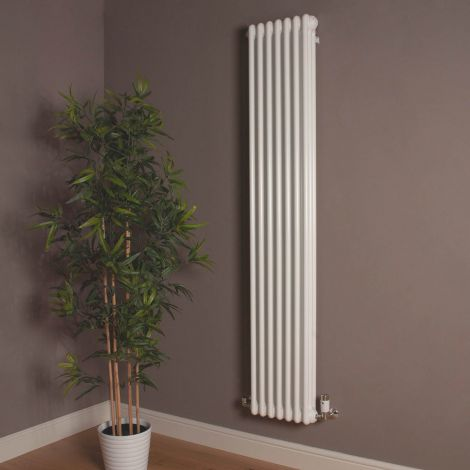 Old Style Tall Thin Gloss White 3 Column Radiator 1800mm high x 339mm wide