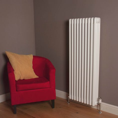 Old Style Gloss White 4 Column Radiator 1200mm high x 339mm wide