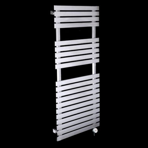 Oslo Brushed Stainless Steel Thermostatic Electric Towel Rail 1200mm high x 500mm wide