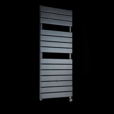 Lazzarini Palermo Anthracite Designer Thermostatic Electric Towel Rail 1200mm high x 500mm wide