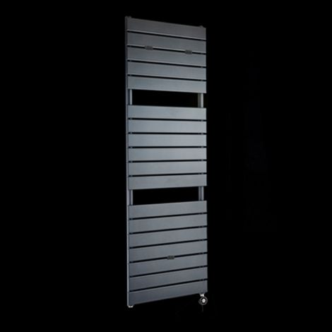 Lazzarini Palermo Anthracite Tall Designer Thermostatic Electric Towel Rail 1500mm high x 500mm wide