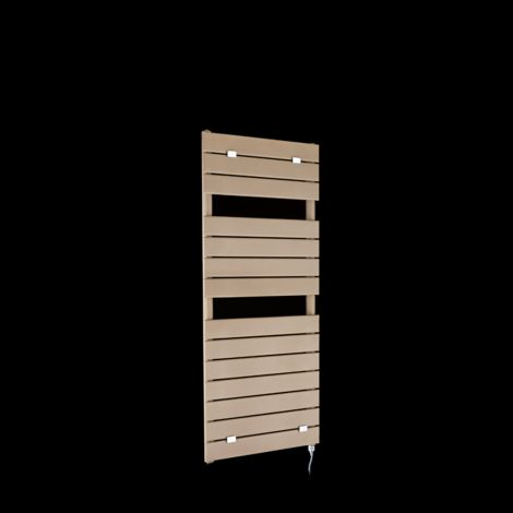 Lazzarini Palermo Sand Brown Designer Electric Towel Rail 1200mm high x 500mm wide