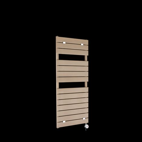 Lazzarini Palermo Sand Brown Designer Thermostatic Electric Towel Rail 1200mm high x 500mm wide
