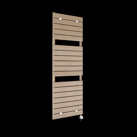 Lazzarini Palermo Sand Brown Tall Designer Thermostatic Electric Towel Rail 1500mm high x 500mm wide