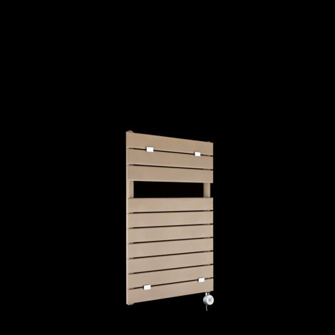 Lazzarini Palermo Sand Brown Small Designer Thermostatic Electric Towel Rail 820mm high x 500mm wide