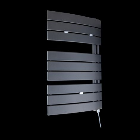 Lazzarini Pieve Anthracite Floating Open Side Designer Electric Towel Rail 780mm high x 550mm wide