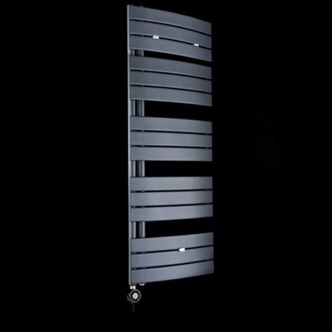 Lazzarini Pieve Anthracite Floating Open Side Large Thermostatic Electric Towel Rail 1380mm high x 550mm wide