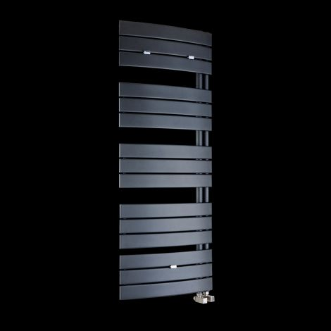 Lazzarini Pieve Anthracite Floating Open Side Designer Heated Towel Rail 1380mm high x 550mm wide