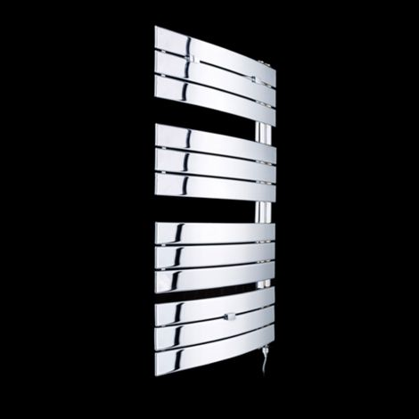 Lazzarini Pieve Chrome Floating Open Side Designer Electric Towel Rail 1080mm high x 550mm wide