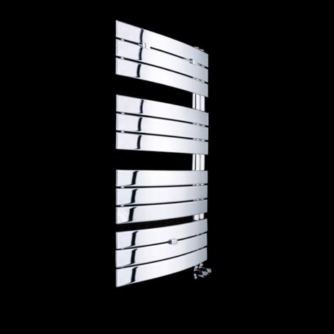 Lazzarini Pieve Chrome Floating Open Side Designer Heated Towel Rail 1080mm high x 550mm wide