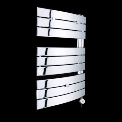 Lazzarini Pieve Chrome Floating Open Side Thermostatic Electric Towel Rail 780mm high x 550mm wide
