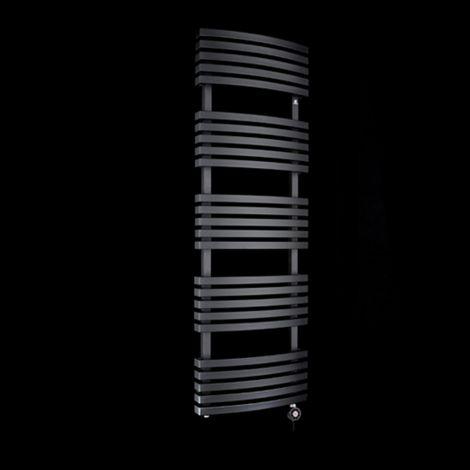 Terma Kioto Black Thermostatic Electric Towel Rail 1500mm high x 480mm wide