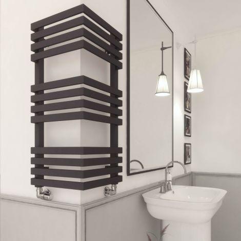 EX-DISPLAY Terma Outcorner Black Outside Corner Heated Towel Rail - 735mm high x 300mm wide (each side)