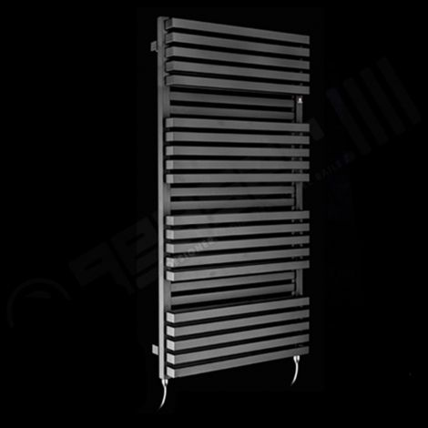 Terma Quadrus Bold Black High Output Double Electric Towel Rail 1185mm high x 600mm wide