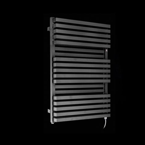 Terma Quadrus Bold Black High Output Double Electric Towel Rail 870mm high x 600mm wide