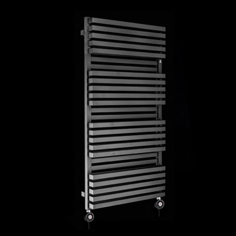 Terma Quadrus Bold Black High Output Double Thermostatic Electric Towel Rail 1185mm high x 600mm wide