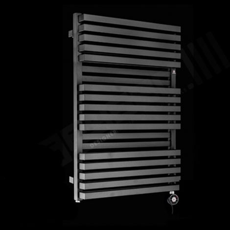 Terma Quadrus Bold Black High Output Double Thermostatic Electric Towel Rail 870mm high x 600mm wide