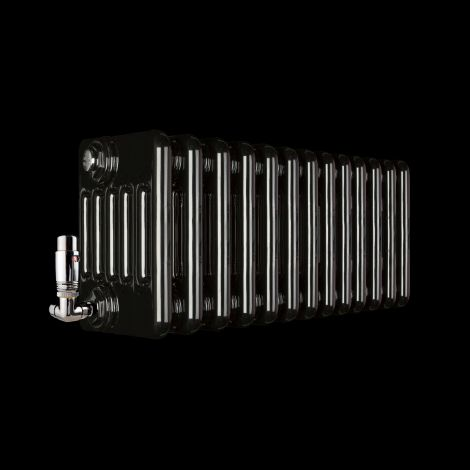 Old Style Low Level Gloss Black 6 Column Radiator 300mm high x 609mm wide