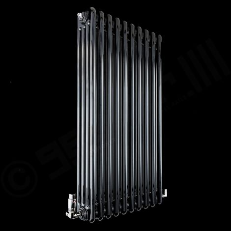 Old Style High Output Gloss Black 4 Column Radiator 1200mm high x 474mm wide
