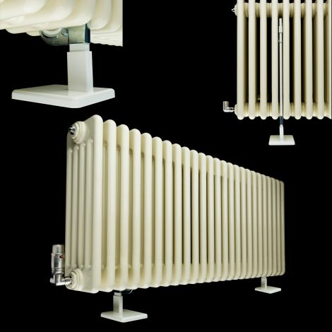 White Support Foot To Make Old Style Column Radiators Freestanding - for 500mm high models