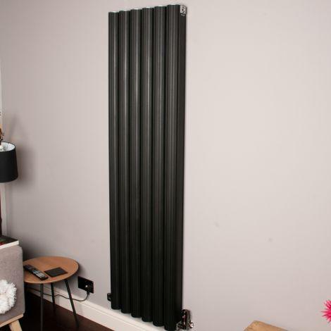 Venn Black Vertical Tall Narrow Designer Radiator - 1750mm high x 480mm wide