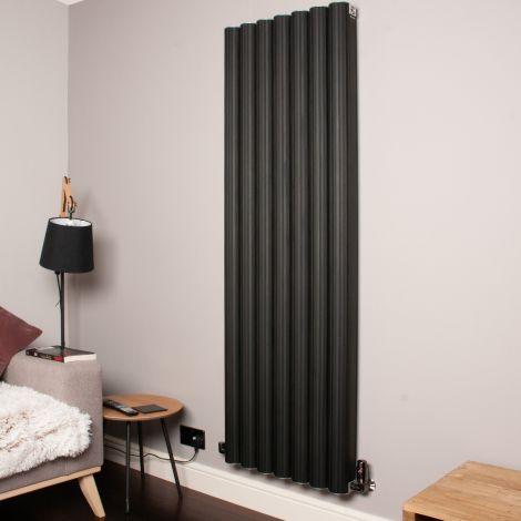 Venn Black Vertical Tall High Output Designer Radiator - 1750mm high x 560mm wide