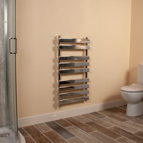 Vulcan Chrome Designer Electric Towel Rail 950mm high x 500mm wide