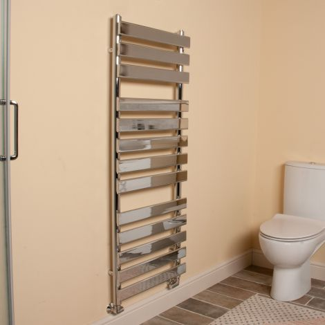 Vulcan Chrome Designer Heated Towel Rail 1300mm high x 500mm wide