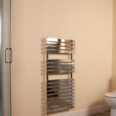 Wallpan Chrome Designer Electric Towel Rail 1100mm high x 500mm wide