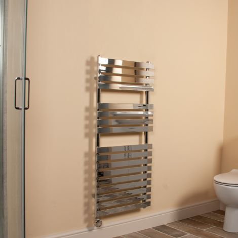 Wallpan Chrome Designer Thermostatic Electric Towel Rail 1100mm high x 500mm wide