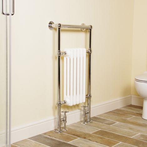 Wells Chrome Traditional Victorian Towel Radiator (Slimline Towel Bar) - 952mm high x 500mm wide