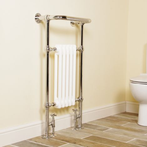 Wells Chrome Traditional Victorian Towel Radiator (Projected Towel Bar) - 952mm high x 500mm wide