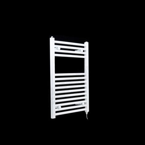 White Straight Ladder Electric Towel Rail 800mm high x 400mm wide