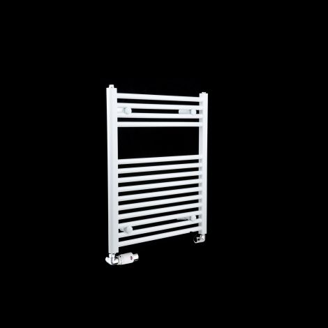 White Straight Ladder Heated Towel Rail 700mm high x 600mm wide