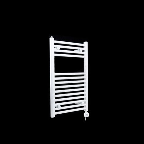 White Straight Ladder Thermostatic Electric Towel Rail 800mm high x 400mm wide